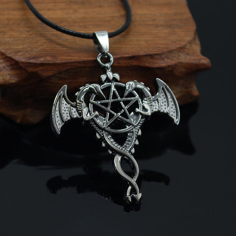 Vintage Double Dragon Pendant Hollow Pentagram Kuroshitsuji Penda
