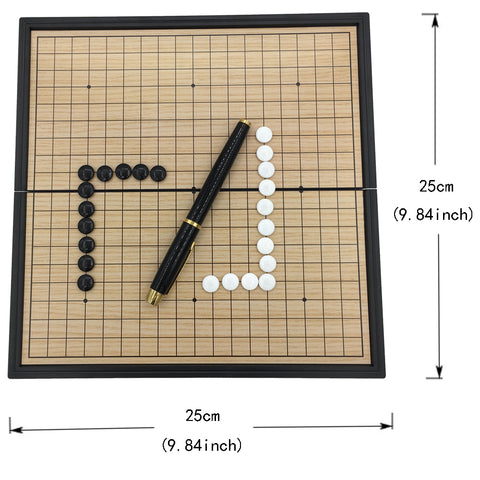 Go Game Set WeiQi Magnetic Pieces Folding Board 19 Lines 361 Pcs/Set Board Size 25 cm x 25 cm Reversi Board Game Gift For Kids