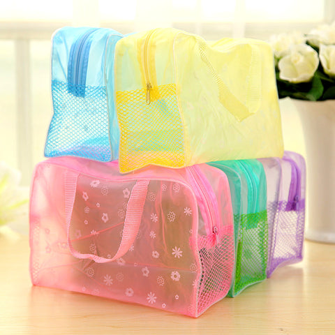 Floral Print Transparent Waterproof Makeup Make up Cosmetic Bag Toiletry Bathing Pouch