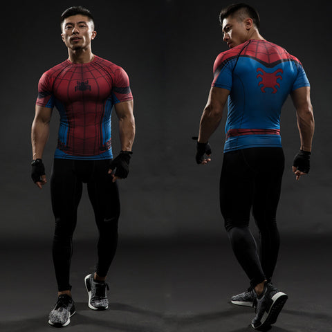 Red Blue Spiderman 3D T Shirt Men T-Shirt Male Crossfit Tops Print Anime Superhero Superman shirt Men Fitness Compression Shirts