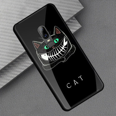 For OnePlus 6 Case 6.28 Fashion Printing Hard PC Glass Back Cover For One Plus 6 oneplus6 Soft TPU Edge Protector Phone Cases