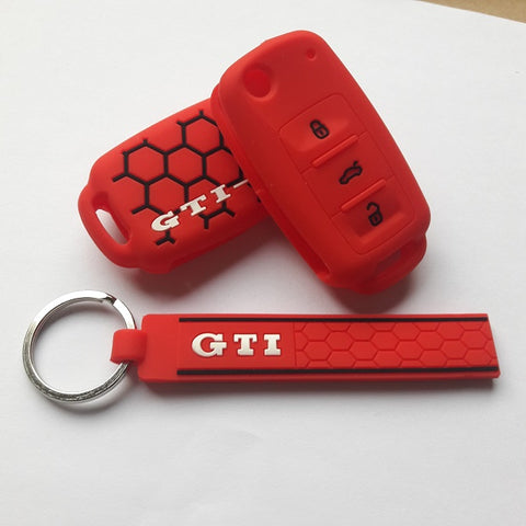 Car Remote Flip Key Case Cover FOB Silicone Shell For VW GTI Passat Golf Jetta Beetle Polo MK6 Touareg 3 Button