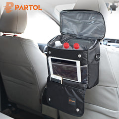 Multi-Fuction Car Storage Bag Universal Black Organizer Box for Backseat Automobile Stowing Tidying with Food Cooling Bag