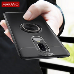 Oneplus 6 Case Rotating Finger Ring Magnetic Car Holder Soft Silicone Back Cover For One Plus 6 Phone Cases Oneplus6