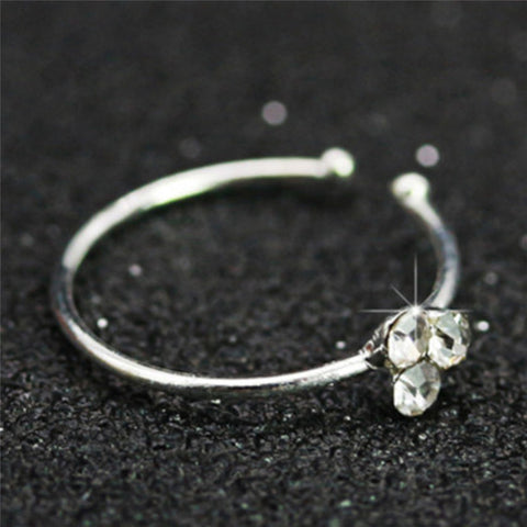 1PC Crystal Rhinestone Bone Stud Surgical Steel Nose Ring  Body Piercing Jewelry