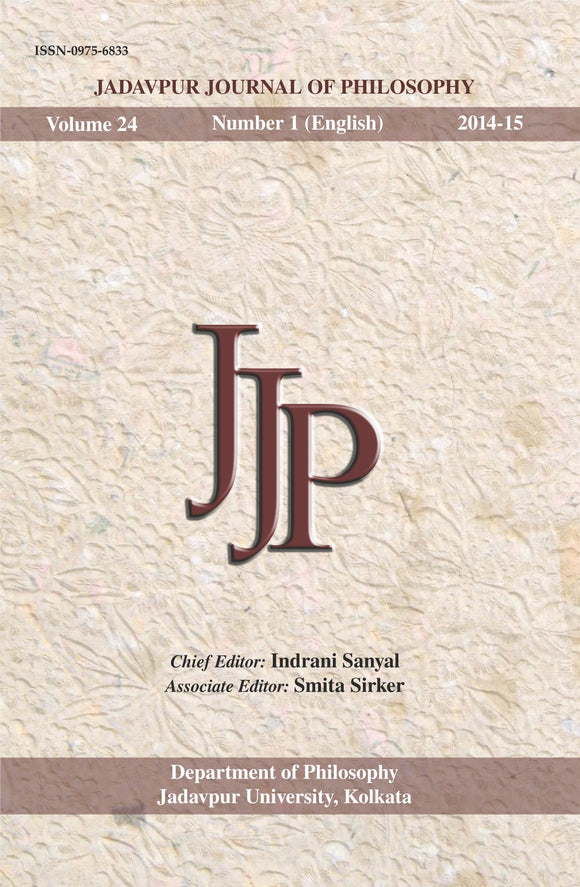 Jadavpur Journal of Philosophy Vol. 24 (no. 1)
