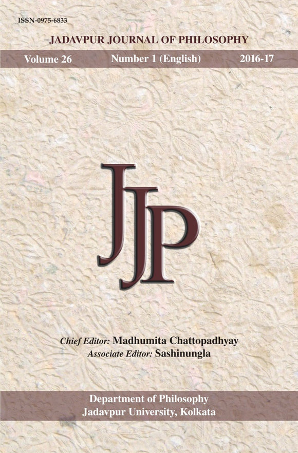 Jadavpur Journal of Philosophy Vol. 26 (no. 1)