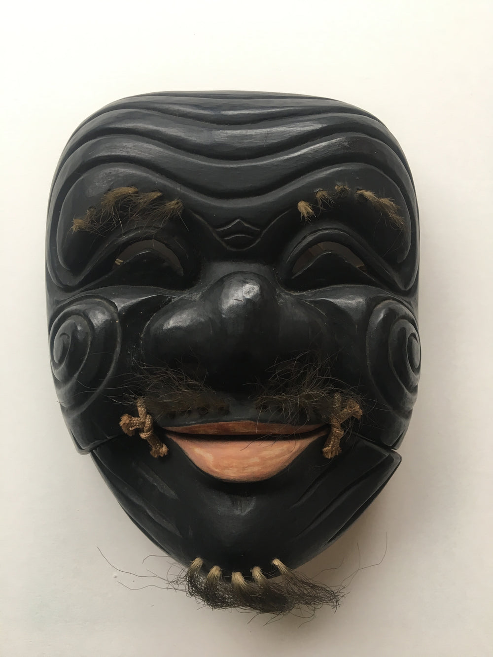 "Hand carved wooden Noh Mask ""OKINA"" (old man)"