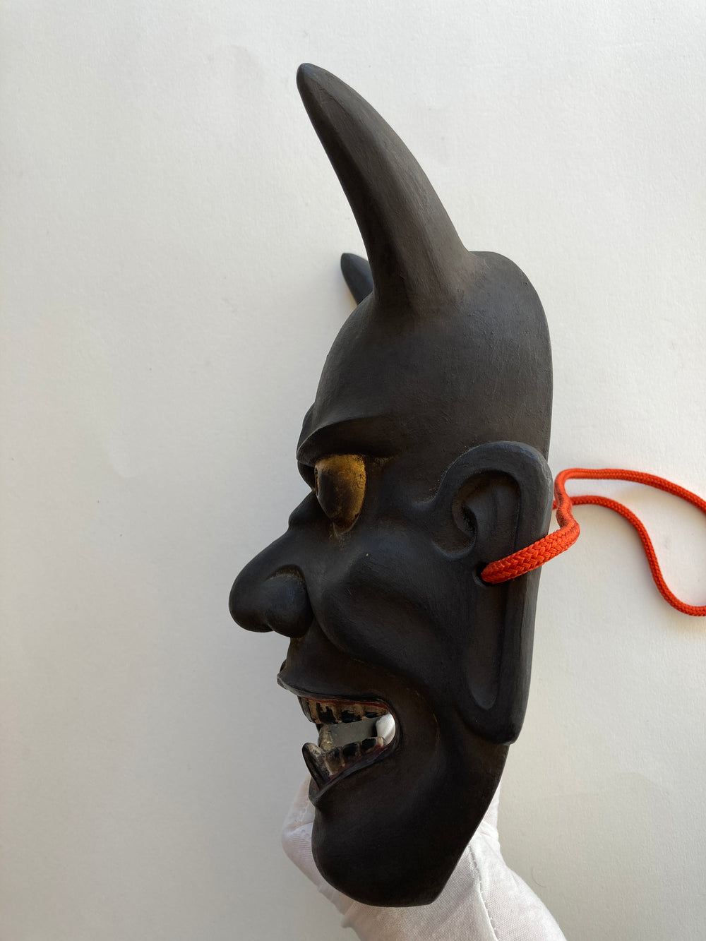 "HANNYA by ""Arakou"". (Carved in wood, with Pawlonia Box, Silk Bag and Handwritten Certificated)."