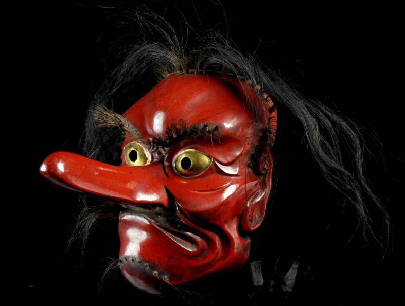 Antique wood carved Tengu Mask for Kagura-kyogen