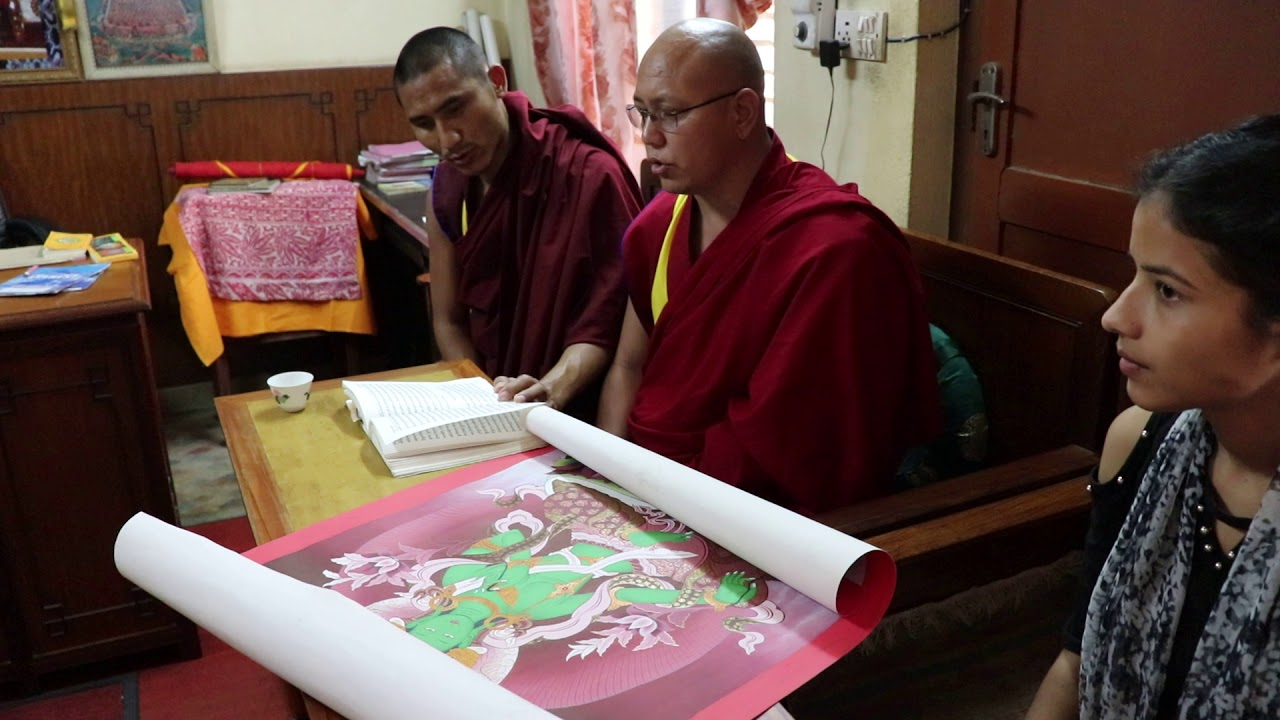 Thangka blessing in stupa by rinpoche and lama