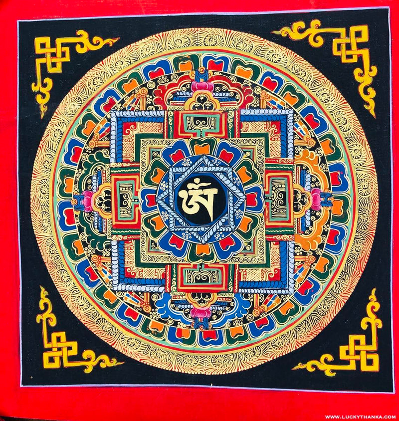 OM Mandala Thangka Painting for Good Luck -  Best Thangka & Singing Bowl