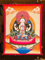 Beautiful Hand Painting Chenrezig Thangka -  Best Thangka to buy online.
