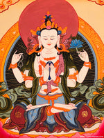 Beautiful Chenrezig Thangka Hand Painting -  Best Thangka & Singing Bowl
