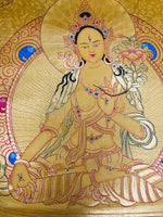 Gold White Tara Painting Thangka