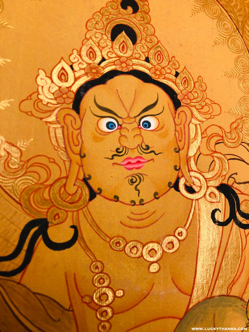 Fully Gold Painting of Kuber Tibetan Thangka Hand Painting | Zambala Art