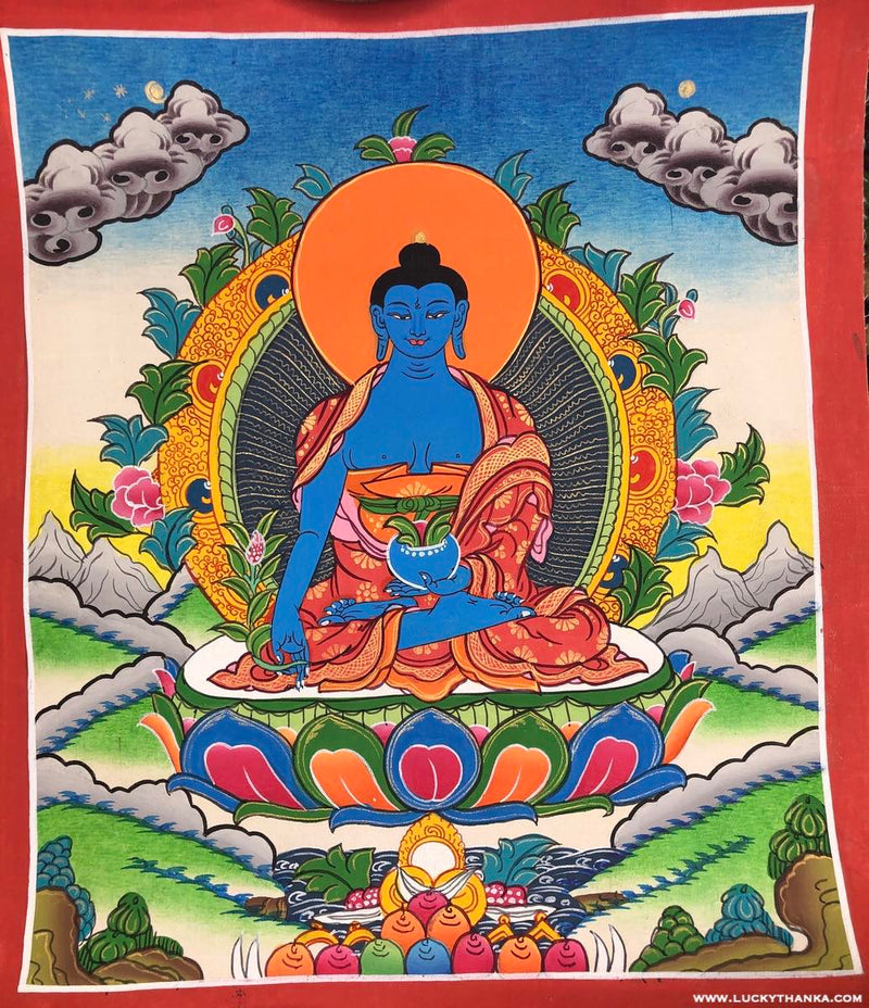 Small Medicine Buddha Thangka Painting -  Best Thangka & Singing Bowl