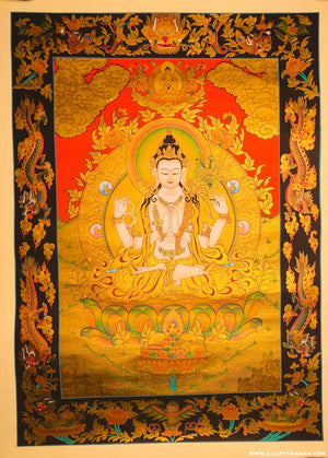 4 arm Chenrezig Full Gold Tibetan Thangka Painting -  Best Thangka Painting.