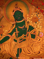 High quality hand painted Green Tara Thangka painting using natural stone colour on cotton canvas.