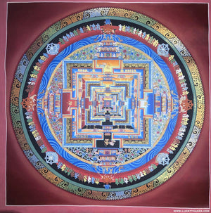 Kalchakra Mandala Thangka Painting with Various Color -  Best Thangka & Singing Bowl