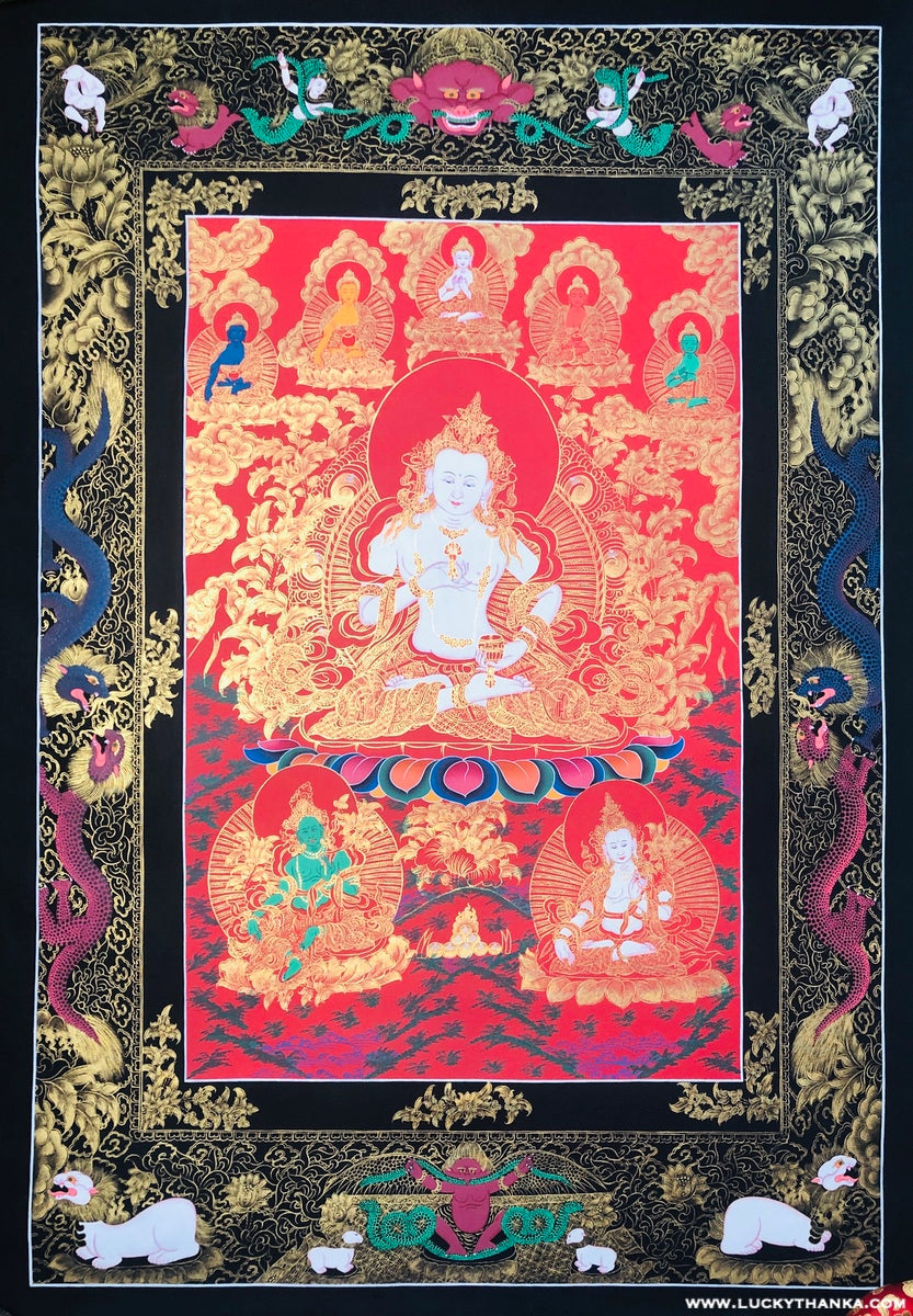 Vajrasattva Thangka Painting with Mantra