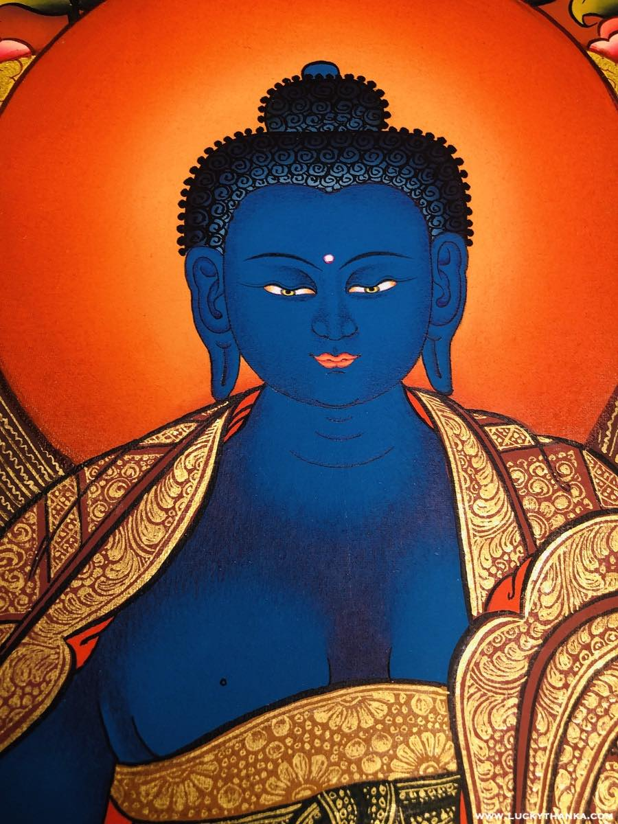The Blue Buddha of Healing- Medicine Buddha Thangka -  Best Thangka & Singing Bowl