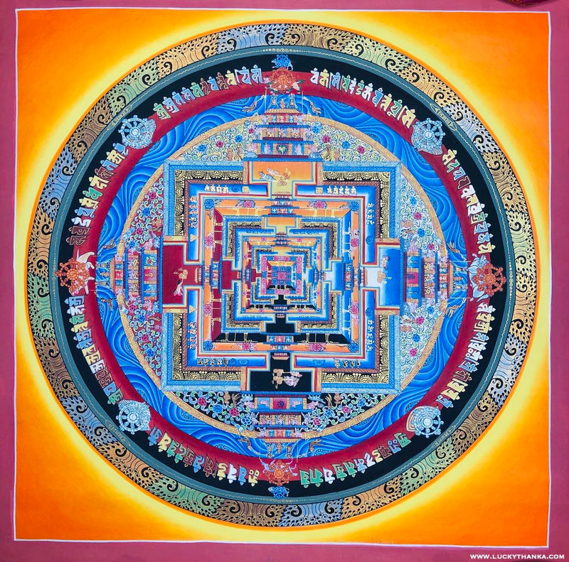 Gold Kalachakra Mandala for Good Luck and Happiness -  Best Thangka & Singing Bowl