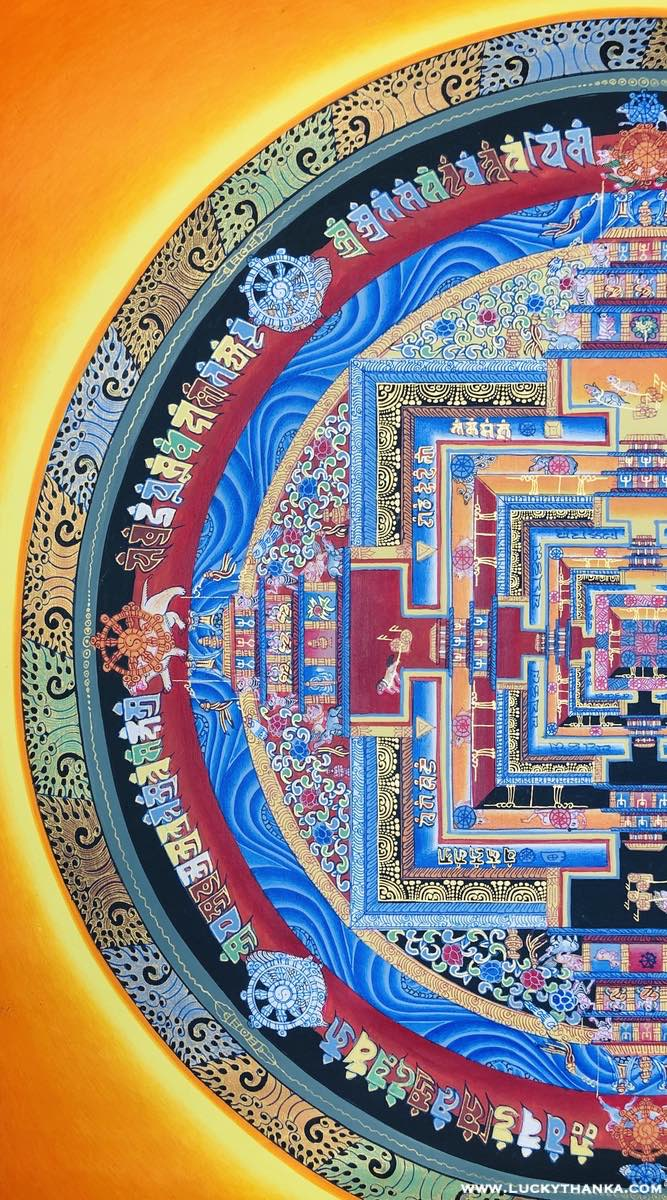 Gold Kalachakra Mandala for Good Luck and Happiness