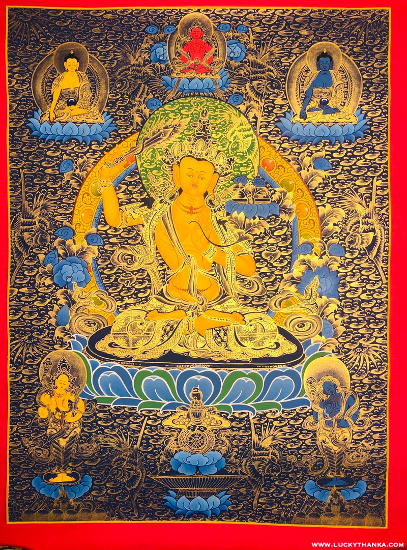 Yellow Gold Paint of Manjushri Thangka -  Best Thangka & Singing Bowl