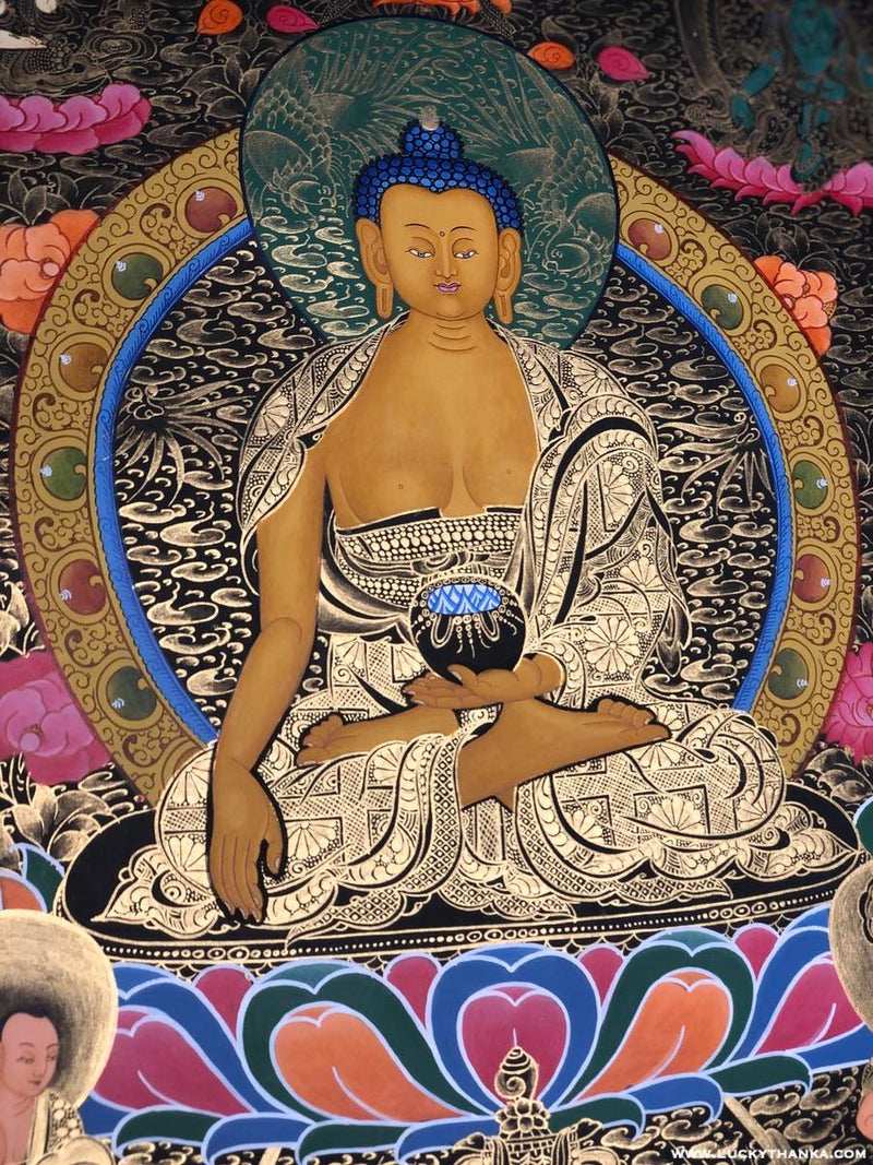 Shakyamuni Buddha with Amitayus Tibetan Thangka -  Best Thangka & Singing Bowl