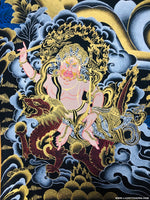 Gold and Silver Five Zambala Thangka Painting | Tibetan Thangka on Sale