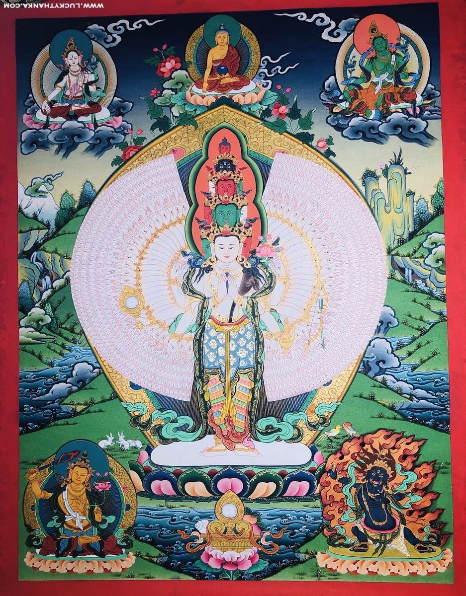 Natural stone color painted 1000 arm Chenrezig (Quan Yin) Tibetan Thangka Painting.