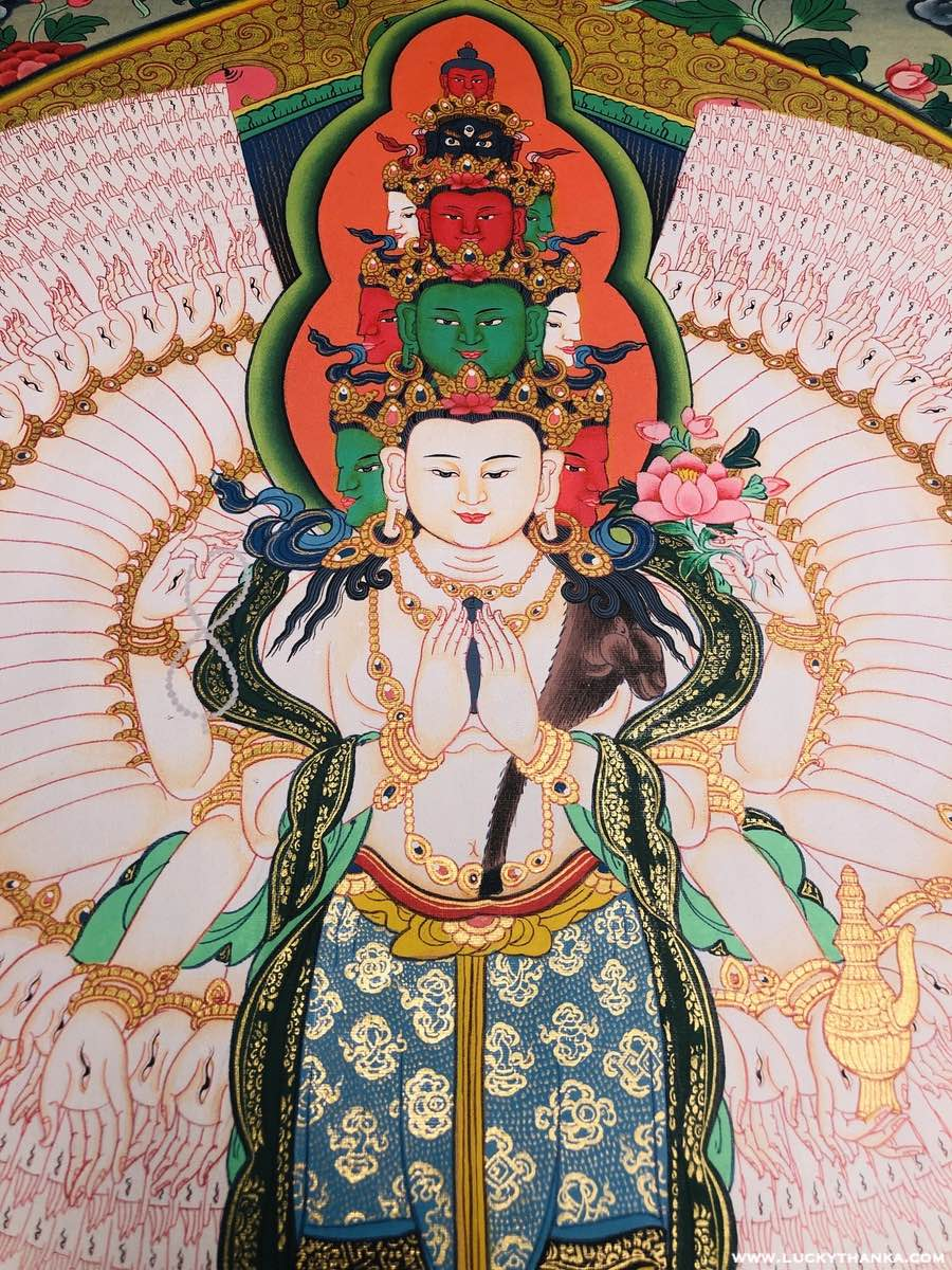 High Quality Chenrezig Thangka painting for meditation altar space.