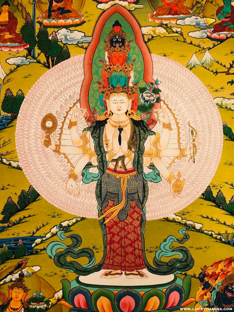 Natural Stone color Avalokiteshvara Thangka painting painted by highly skilled lama artist from Nepal.