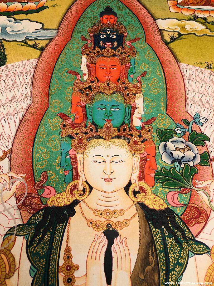 High Quality Large Size Avalokiteshvara Thangka -  Best Thangka Paintings.