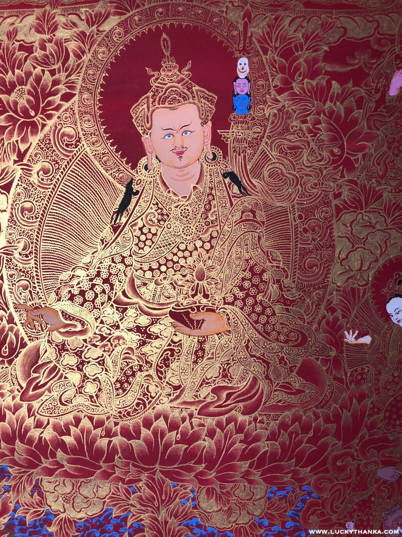 Guru Rinpoche and Eight Manifestations Thangka - Gold on Red Background -  Best Thangka & Singing Bowl
