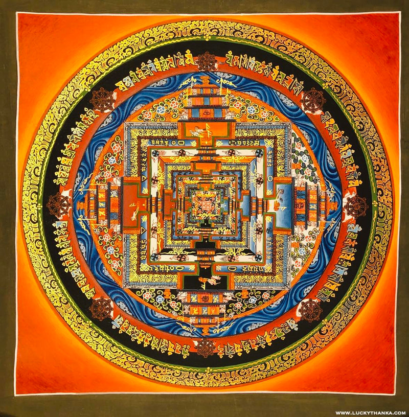Orange Kalachakra Mandala Thangka  Painting | Made in Nepal