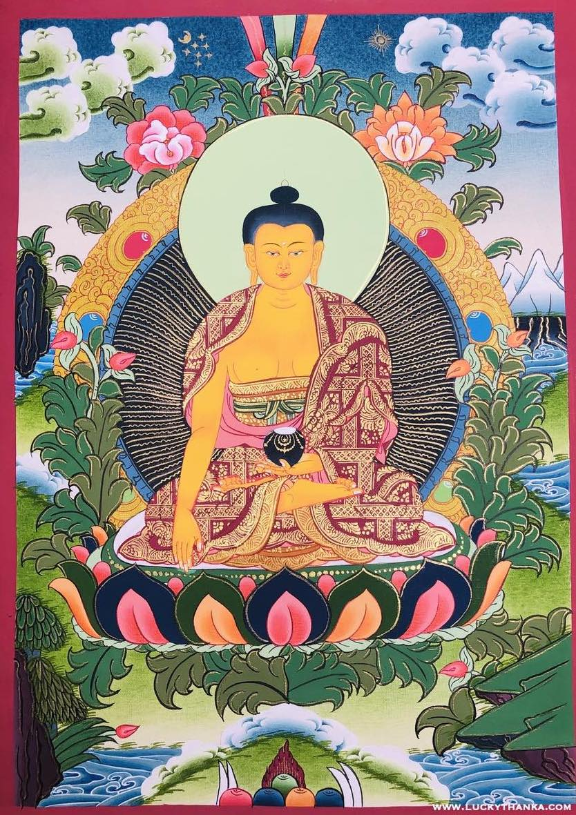 Shakyamuni Buddha Hand Painting Thangka -  Best Thangka & Singing Bowl