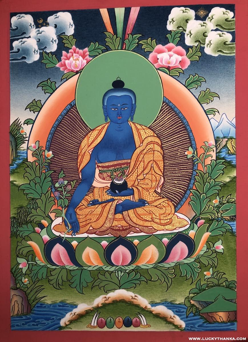 Thangka of Medicine Buddha art -  Best Thangka & Singing Bowl