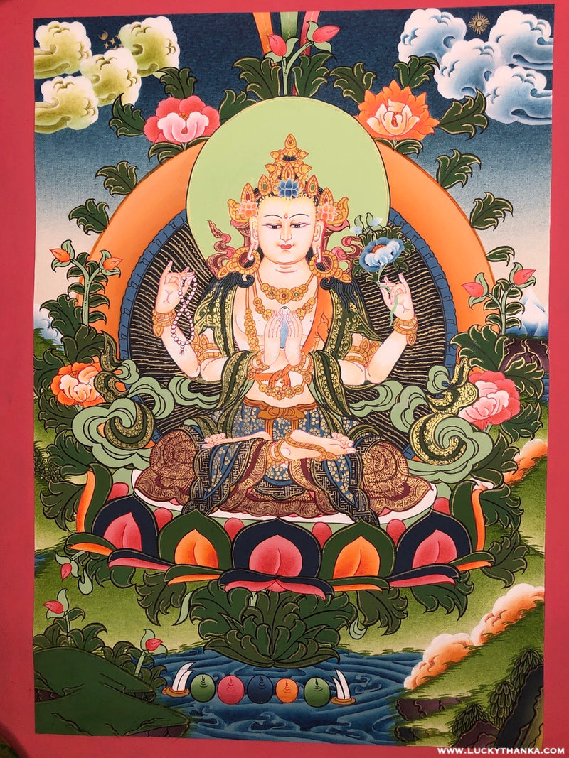 4 armed kuan qin (Chenrezig) Tibetan Thangka Painting -  Best Thangka & Singing Bowl