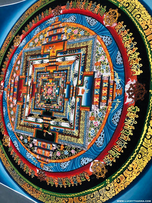 Sky Blue Kalachakra Mandala Thangka  Painting | Good Luck Symbol for Family