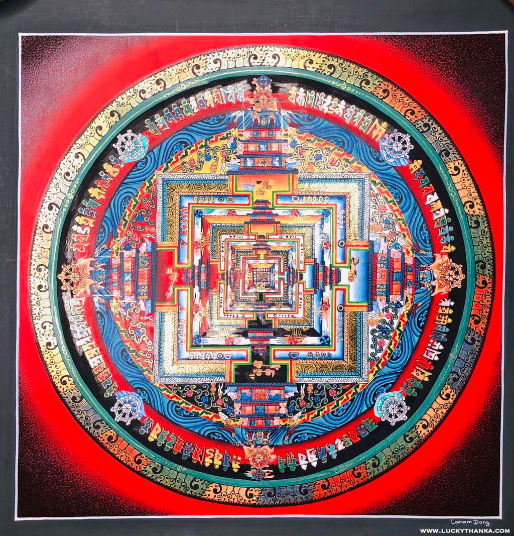 Red Kalachakra Mandala Thangka Painting | Art and Craft
