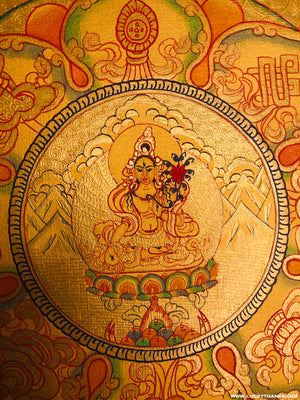 Gold Painted White Tara Tibetan Thangka