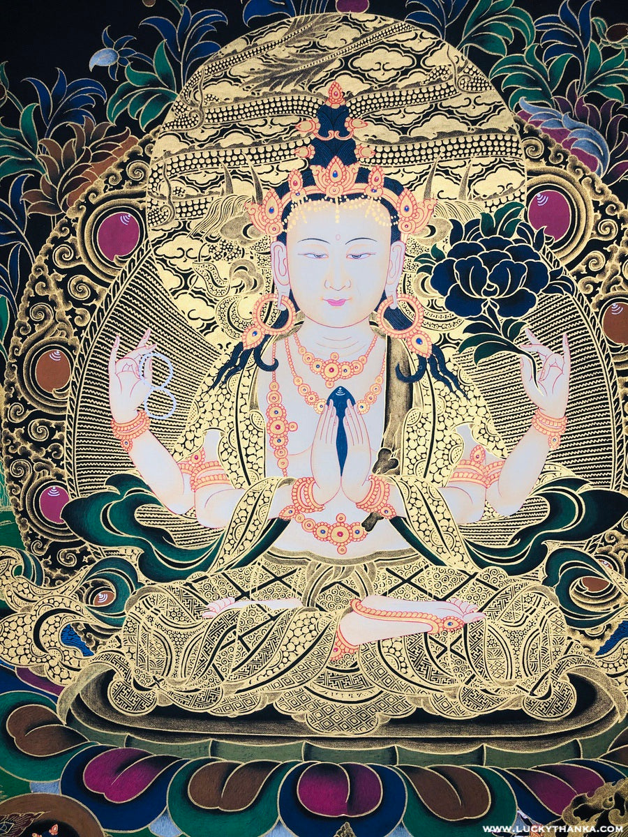 Black and Gold Thangka of Compassionate 4 armed Chenrezig -  Best Thangka & Singing Bowl