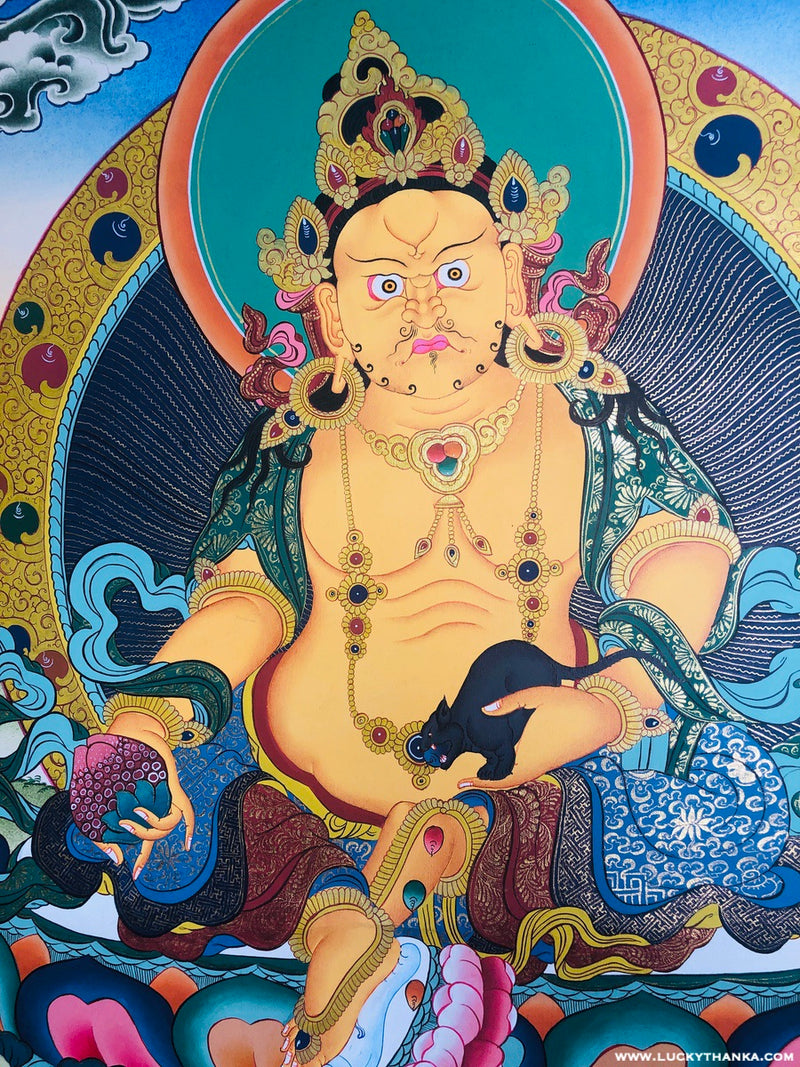 Tibetan Thangka Painting | Zambala Wall Hanging art for Good Wealth and Prosperity
