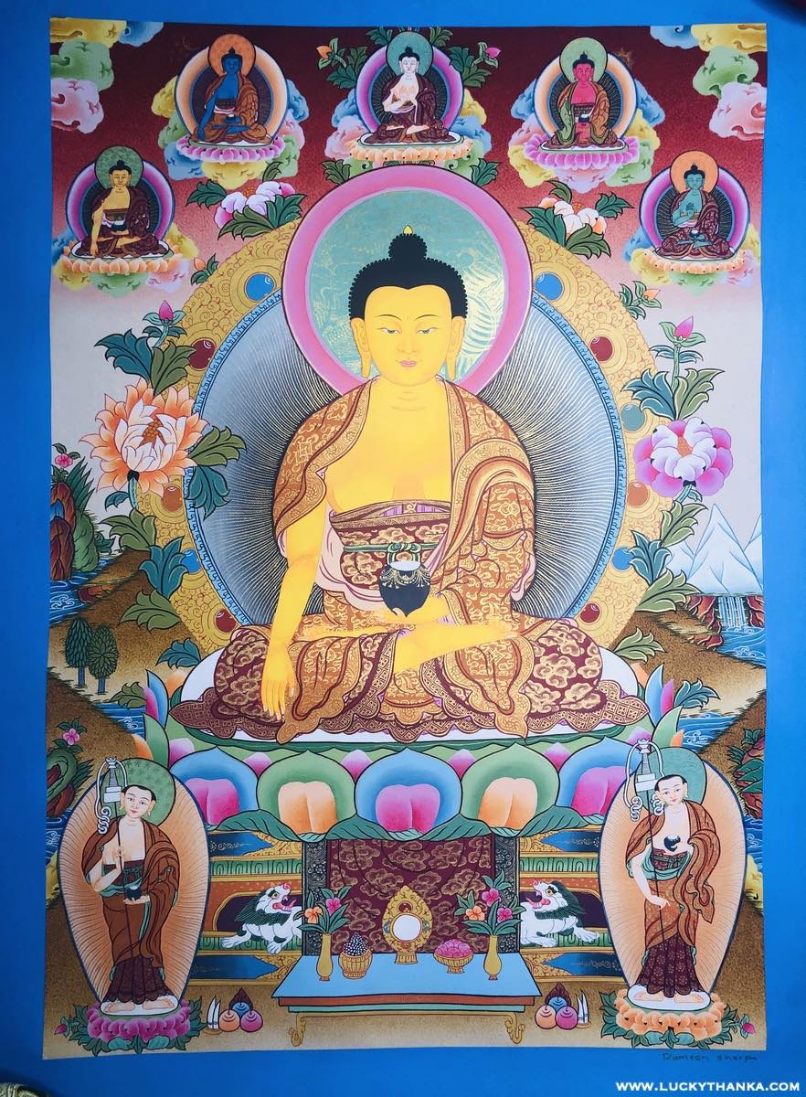Shakyamuni Buddha with other 5 Dhyani Buddha Tibetan Thangka -  Best Thangka & Singing Bowl