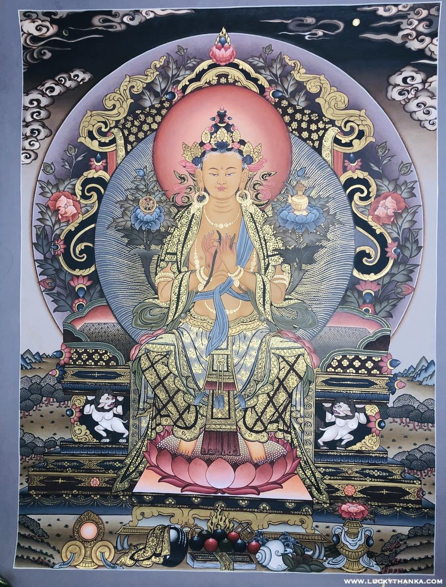 Maitreya Buddha Thangka | Best Quality Painting -  Best Thangka & Singing Bowl