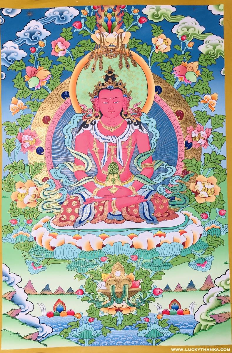 Buddha of Infinite Light - High quality Amitayus Buddha scroll painting on cotton canvas.