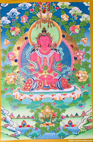 Buddha of Infinite Light - Amitayus Buddha -  Best Thangka & Singing Bowl