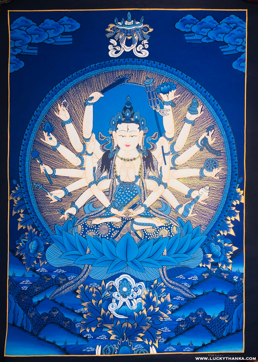 Tibetan style Thangka Painting of Avalokiteshvara, 1000 arm Chenrezig.